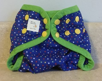 Preemie Newborn PUL Diaper Cover with Leg Gussets- 4 to 9 pounds- Dots on Blue- 20024