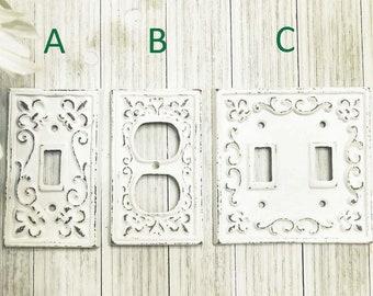 Light Switch Cover, Light Switch Plate, Cast Iron Switch Cover, Farmhouse Kitchen Decor, Cast Iron Light Covers, Fleur De Lis Rustic Decor