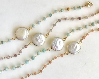 Mother of Pearl Beaded Bracelet. Gemstone Bracelet. Stacking Bracelet. Jewerly. Gifts. Beaded Gemstone Bracelet.