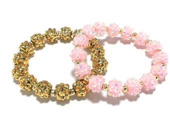 Small Beaded Gold or Light Pink Sparkle Rhinestone Bracelet - Girls Gold Bracelet - Pink Sparkle Bracelet - Baby Pink Flower Girl Bracelet