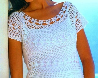 Ladies Lacy Tunic Top, Crochet Pattern. PDF Instant Download.