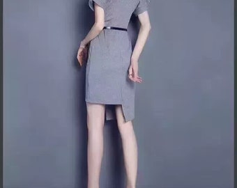 Gray Rhinestone Cut-Out Sleeve Dress (70% Silk)