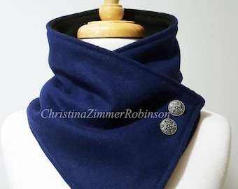 Royal Blue Fleece Lined Neck Warmer Snap Scarf with Decorative Silver Buttons, Scarves, Neckwarmer, Neck Wrap, Collar, Snood