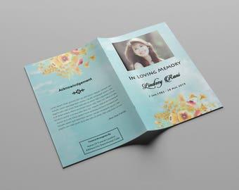 Funeral Program Template | Memorial Program | Photoshop Printable Template