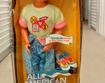 ALL American KEN with Reebok Shoes 1990 Mint in Box BARBIE Vintage