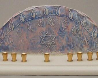 Flames and Star of David Design Chanukah Menorah