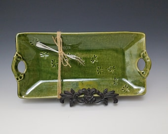 "1"" Deep Green Rectangle Appetizer Serving Tray with Fork"