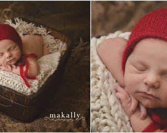 Red Newborn Hat, Dark Red Hat, Red Mohair Newborn Hat, Red Mohair Bonnet, Newborn Knit Hat, Great Newborn Photography Prop