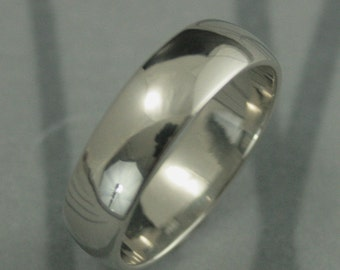 10K Gold Wedding Ring--Men's Gold Band--6mm Plain Jane Half Round Band--Men's Traditional Gold Band--Men's Wedding Ring--Men's Wide Band