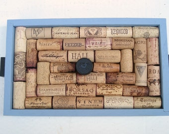 Blue Wine Cork Message Board with Puzzle Pieces - Perfect Stocking Stuffer