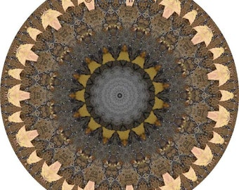Autumn in the Orient Mandala 8x8 Altered Fine Art Photograph