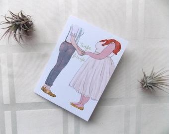 Greeting Card Cute Girls Wedding Gay Lesbian Femme Plus Size Love You Heart Illustration 5x4.5
