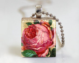 Vintage Flower Peony Pink - Scrabble Tile Pendant - Free Ball Chain Necklace or Key Ring