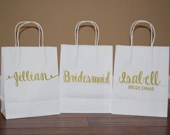 Bridesmaid Gift Bags / Custom Gift Bags / Personalized Gift Bag / Custom Name Gift Bag / Paper Gift Bag / Groomsman Gift Bags / Party Favors