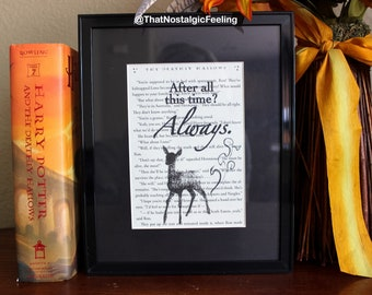 Framed Book Quote Harry Potter Always • Book quote • Severus Snape • Birthday Gift • Wedding Gift • Book lover • Frame picture