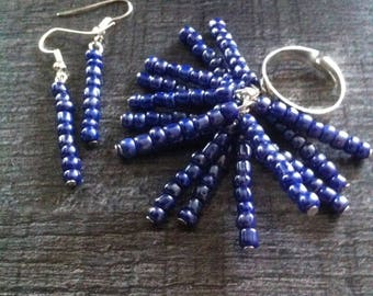 ring and earrings purple seed beads