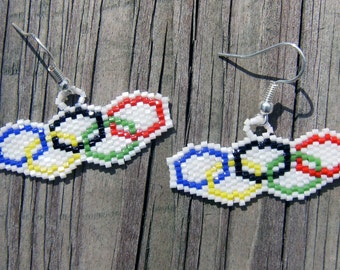 Handmade beaded Olympic rings earrings