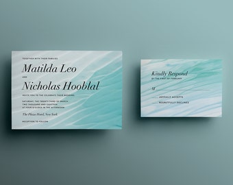 Turquoise Sand Beach Wedding Invitation - Custom DIY Printable