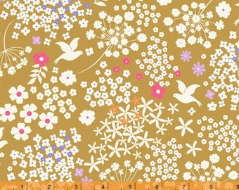 SALE - Faith, Hope and Love - Golden Mustard Doves Cotton Print with Metallic by Whistler Studios from Windham Fabrics