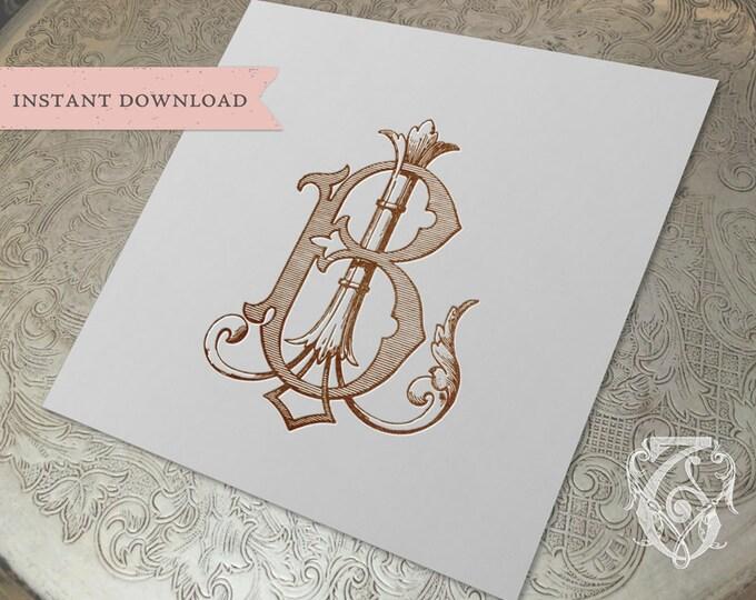 Vintage Wedding Monogram BL LB Digital Download B L