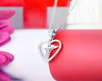 Caduceus Heart Medical Necklace Pendant