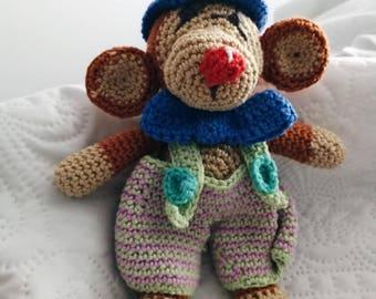 crochet circus monkey plushie - handmade