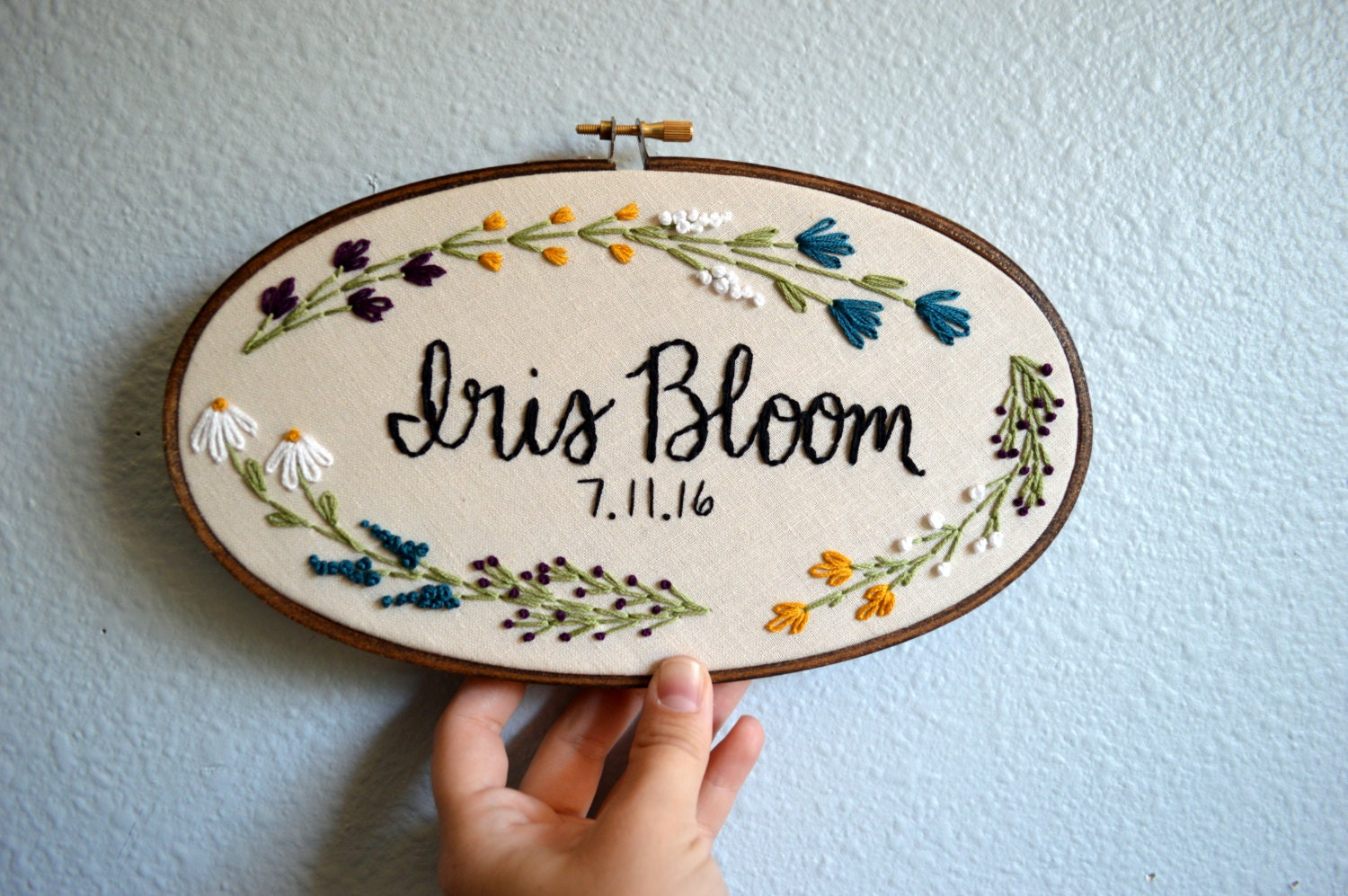 Custom Name Embroidery Hoop Baby Name Embroidery Floral
