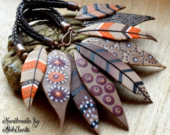 Bib necklace Statement necklace Brown necklace Polymer Southwestern jewelry Feather necklace Autumn necklace Leaf necklace Inspirational