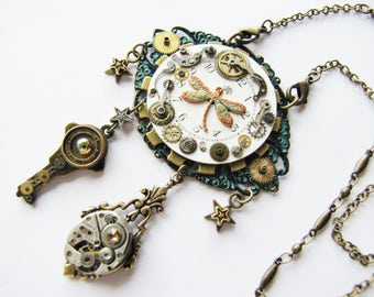 Steampunk Dragonfly & Antique Watch Dial Pendant Necklace, Steampunk Dragonfly Necklace, Pocket Watch Dial Necklace, Steampunk Necklace PN70