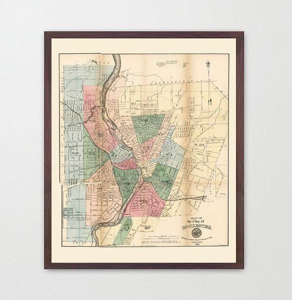Rochester Map - New York Map - Map Art - Map Decor - City Map - Rochester Art - New York State Decor - Upstate New York - RIT -