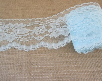 "Light Blue Lace Trim Ribbon By the Yard  3"" inch wide Floral Lace Flower Design Baby Shower Sewing Wedding Bridal Gift Basket Home Decor W94"