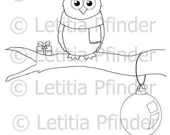 Christmas Creatures - Owl - Colouring Page