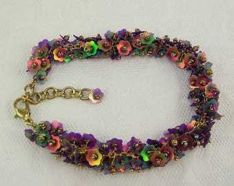 DESTASH, Sequin bracelet, Beaded Bracelet, Garden Bracelet, Iridescent Flower Bracelet, Flower Bracelet, Purple Bracelet, Seed Bead Bracelet