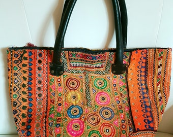 Vintage Banjara Boho shopping bag, Boho yoke bag, Evening tote, embroidered bag Ethnic bag, vintage coin, mirror bag, Tote, leather strap