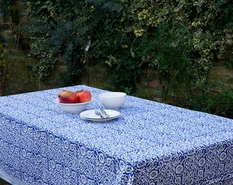 Block printed TABLECLOTH - Blue and White Pattern