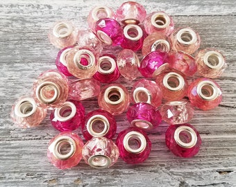 PINK Faceted Rondelle Beads | European Style Acrylic Charms | Bulk Lot Wholesale | Large Hole Beads fits DIY Bracelets | DIY Jewelry Gifts