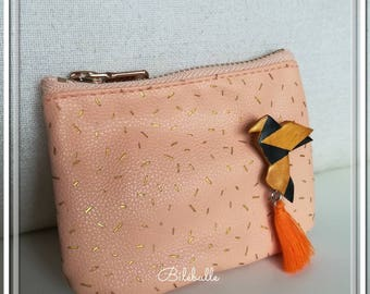 Pink wallet with Origami brooch