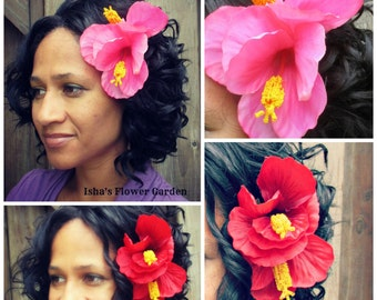 Hibiscus hair flower clip, double bloom, tropical hair, red hair flower, pink hair flower