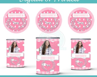 Victorias Secret PInk Pringles Can labels- drink labels-digital- you print - Party Favors