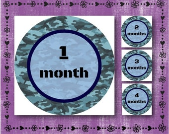 "Milestone Monthly Stickers - Blue Camouflage - Months 1-12 - 2.5"" Round Glossy Labels - Picture Prop - Baby Shower Gift - FREE SHIPPING"
