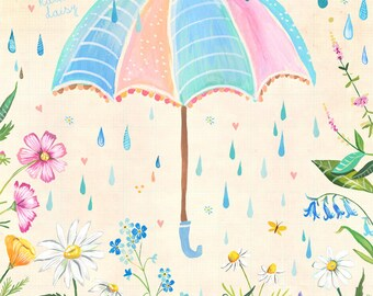 Spring Rain art print | Watercolor painting | Nursery Decor | Katie Daisy | 8x10 | 11x14
