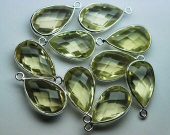 925 Sterling Silver, Lemon Quartz Faceted Pear Shape Pendant,5 Piece of 20mm