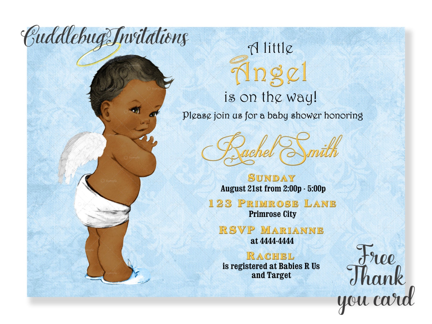 African American Boy Baby Shower Invitation Little Angel