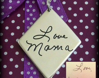 Handwriting Diamond Necklace. Handwriting Jewelry. Your Actual Loved Ones Signature or Handwriting. Memorial Jewelry. Sterling Silver.