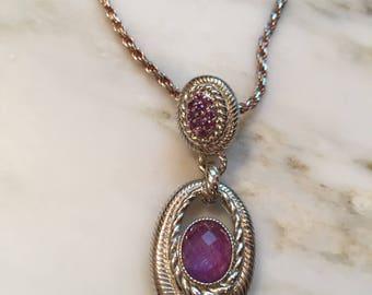 Judith Ripka sterling amethyst CZ pendant  necklace