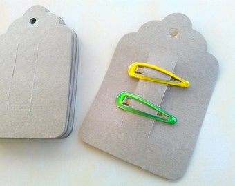 Kraft Hair Clip Cards, Set of 25 cards, Barrette cards, Clippie Card, bobby pin card  Product Tag