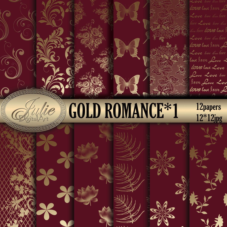 Claret and gold damask digital paper flower background for wedding ...