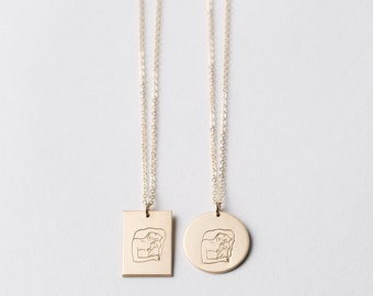 Motherhood Pendant Necklace • Custom Illustration • Gift Ideas for Mom • La Femme Statement Necklace in Silver, Gold Fill, and Rose Gold