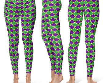 Mardi Gras Leggings, Mermaid Scales Yoga Pants in Purple and Green, Leggings Costumes