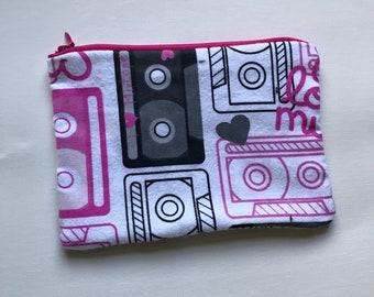 Pink Mixtape flannel pouch